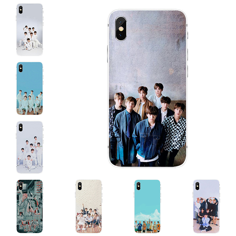 Korean Fashion Mobile Phone Case BTS Bangtan Boys Pattern Phone Case for Iphone 5/5se/5s 6/6S Plus 7/7 Plus 8/8 Plus X SE XS XR XS MAX Soft TPU Silicon Phone Cases