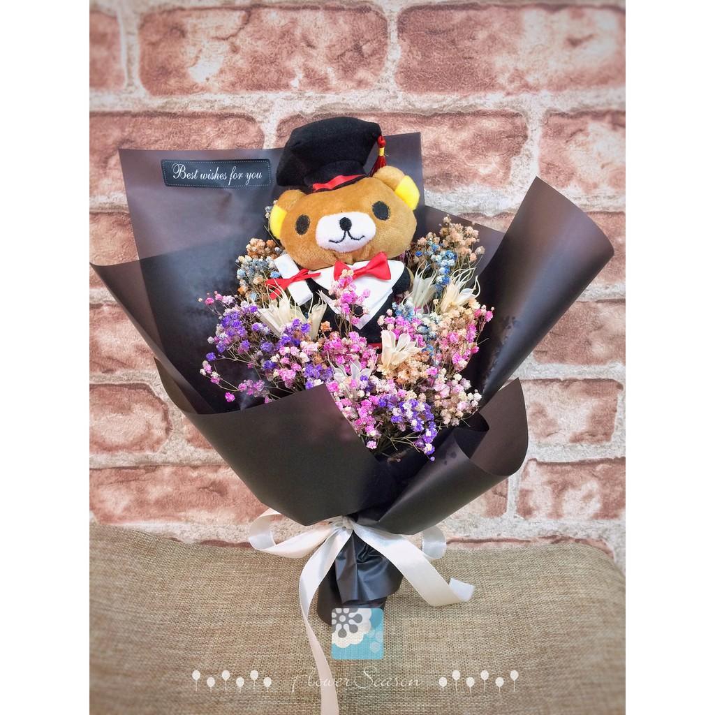 。乾燥花。永生花 不凋花 手作花材【熊快樂乾花束.拉拉】韓風花束 學士熊 乾花 畢業 熊熊