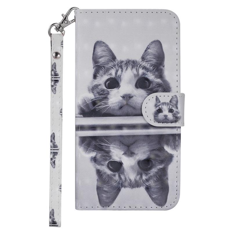 三星 note 9 M30 A40S 手機殼 卡通 鏡面貓 鐳射 3D 彩繪 翻蓋 皮套 全包 防摔 保護套