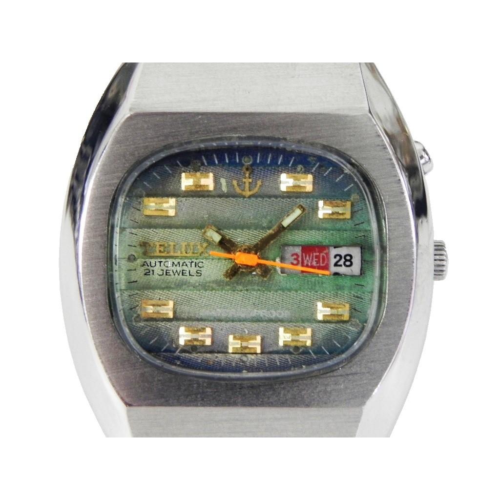 機械錶 [TELUX 7111] 鐵力士 酒桶型機械自動錶[21石][緹花綠色漸層面]中性錶/軍錶