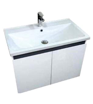 寬80 洗臉盆+浴櫃(吊櫃)+水龍頭+全部配件 100%防水PVC發泡板鋼琴烤漆