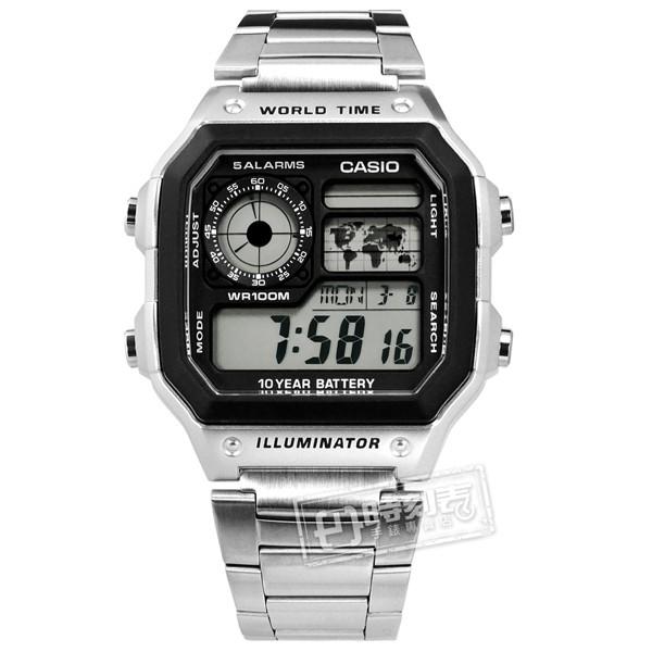 CASIO / AE-1200WHD-1A / 卡西歐 復古方形 計時 防水 世界時間 不鏽鋼手錶 灰黑色 40mm