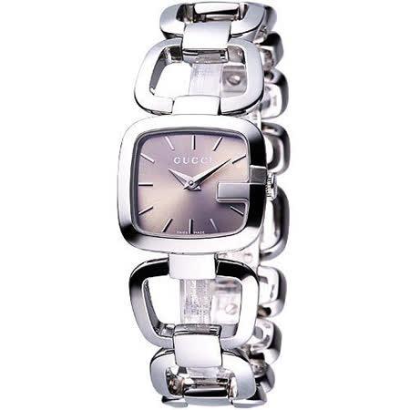 GUCCI古馳G-Gucci 經典品牌手鍊錶(YA125507)-香檳面/銀
