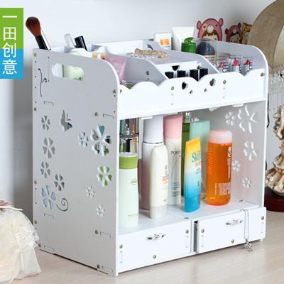 Super accommodating three large double drawer storage box cosmetic storage box desktop finishing wat