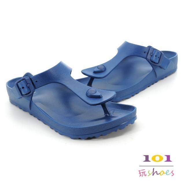 【101玩Shoes】mit.羽量防水夾腳伯肯拖鞋(藍色.36-39號)