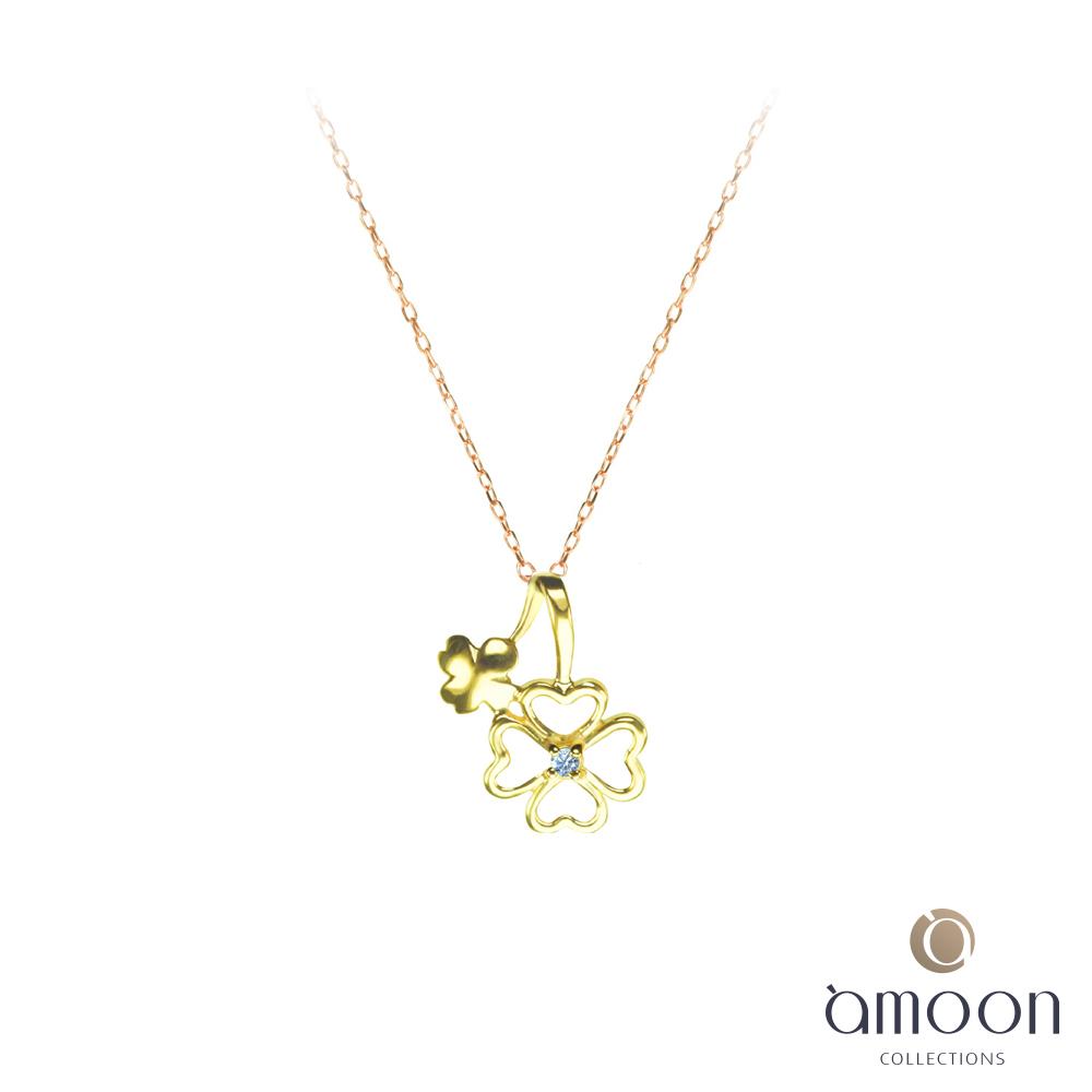 amoon 戀戀東京系列 幸運 10K金鑽石墜子 送18K金純銀項鍊-黃K金