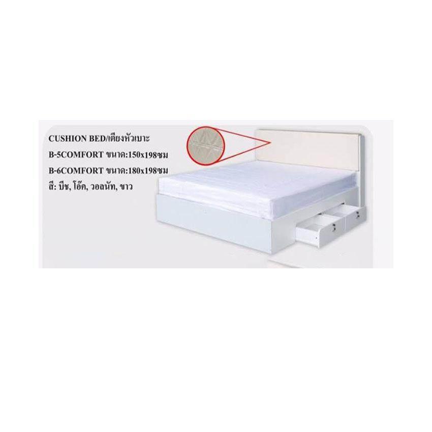 เตียงนอนหัวเบาะลิ้นชักข้าง ขนาด 6 ฟุต พร้อมที่นอนสปริง หนา 8 นิ้ว สีขาว