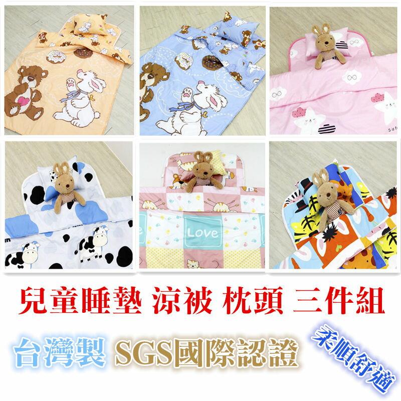 現貨 台灣製 嬰幼兒童 天鵝絨棉 兒童睡墊 涼被 枕頭 三件組 吸濕排汗 睡袋進化版 幼兒幼稚園必備 兒童寢具 戶外露營