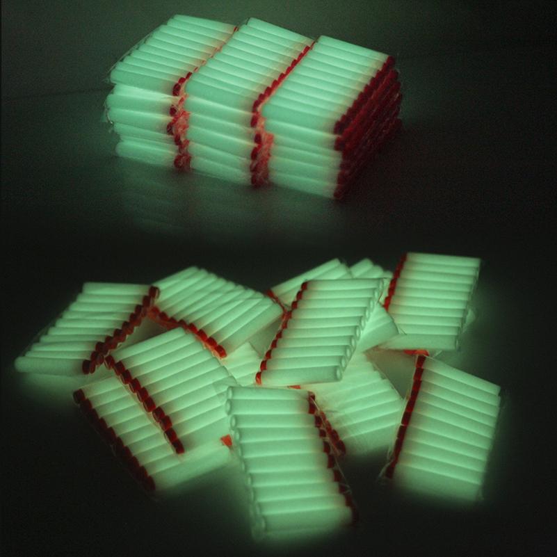 100PCS  white Luminous For Nerf Bullets Soft Hollow Hole Head 7.2cm Refill Darts Toy Gun Bullets for Nerf toys Kid Children Gift
