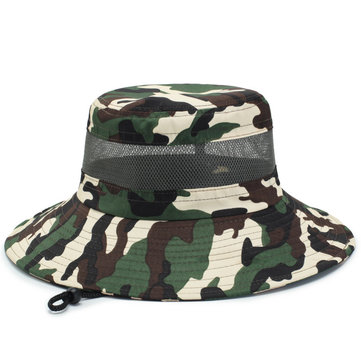 Tactical Camouflage Sunhat Adjustable Fishing Hat Travel Camping Anti-UV Floppy Hat