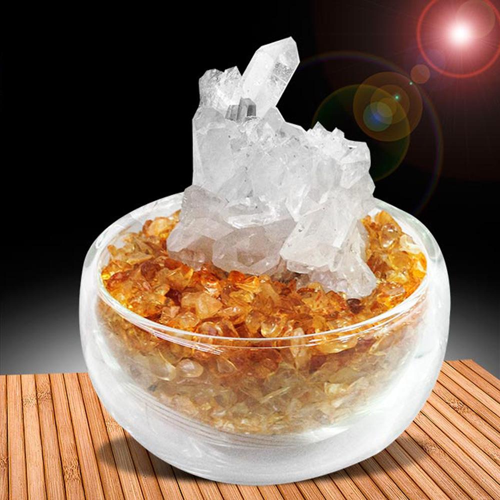 A1寶石  黃水晶聚寶盆-招財轉運白水晶簇(隨機出貨-含開光)