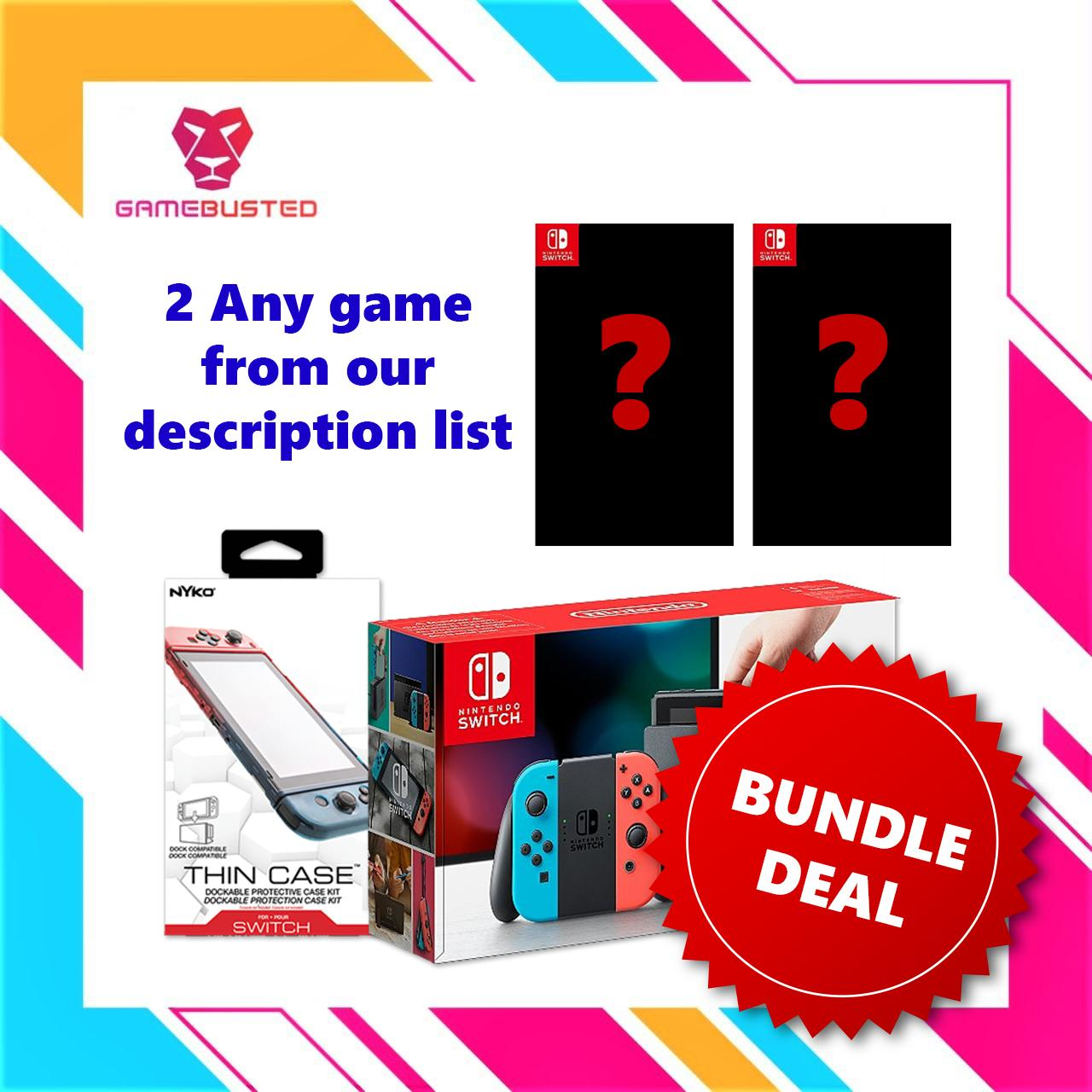 Nintendo Switch Console Bundle with Nyko Thin Case + 2 Nintendo Switch Game (GREY/NEON)(1 Year local warranty)