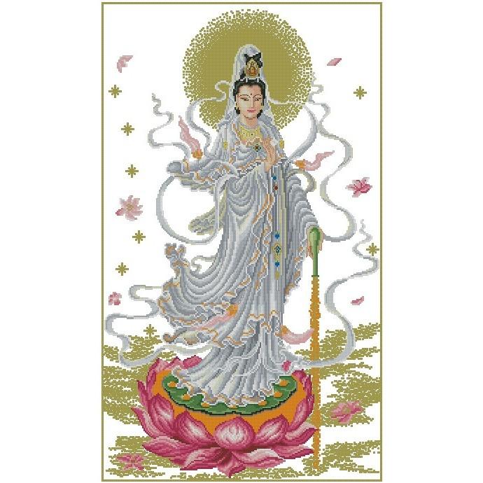 十字繡材料包 宗教 - 滴水觀音 (1) (14CT小格)