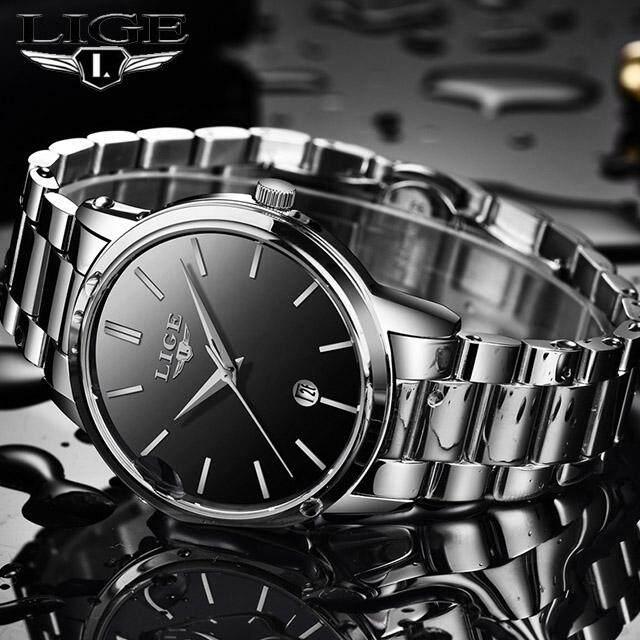 LIGE ผู้ชายแฟชั่นลำลองนาฬิกากันน้ำชาย 9879