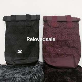 Adidas x Bao Bao Issey Miyake bag in black and wine, 3D mesh adidas top roll bagpack