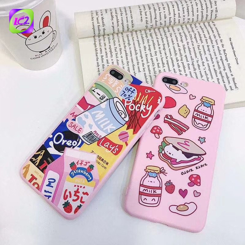 🐎 MC Pink Phone Case For vivo Y97 Y95 Y93 Y91Y75 Y83 Y85 Y71 Sandwich And Canned