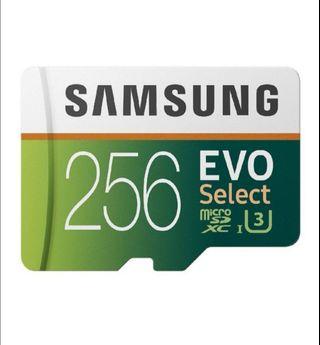 4K UHD Samsung 256GB 100MB/s U3 MicroSDXC EVO Select Memory Card with Adapter