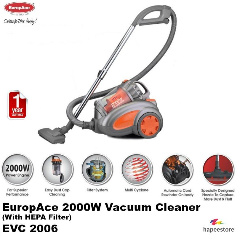 EuropAce Vacuum Cleaner With HEPA Filter - EVC2006P (1 Year Warranty)