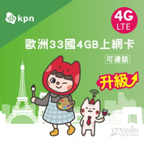 173 WIFI 歐洲KPN 33國 3GB上網卡吃到飽 / 電話卡