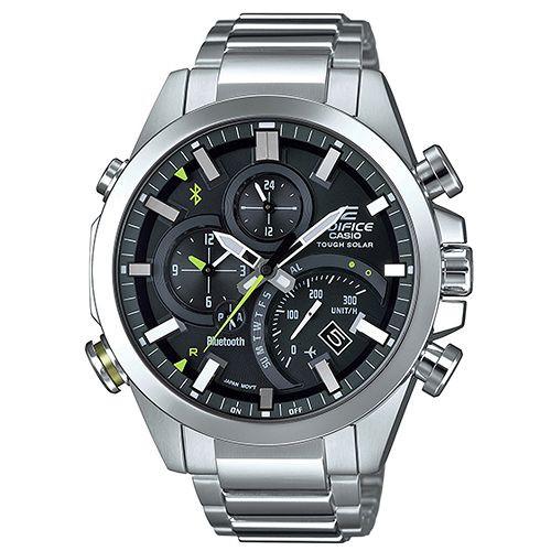 【CASIO】EDIFICE 新科技藍牙智慧不鏽鋼錶-銀x黑(EQB-501D-1A)