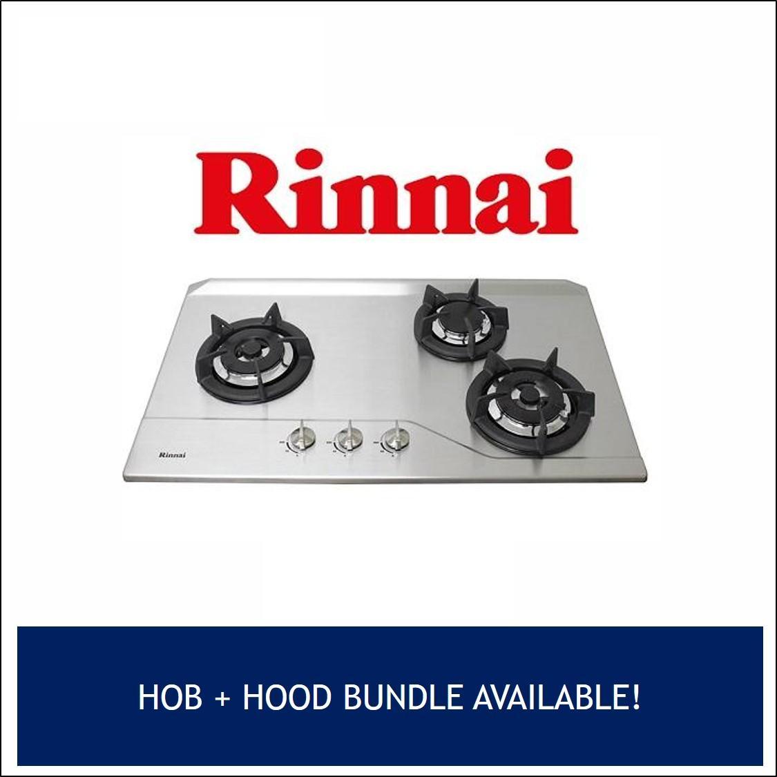 RINNAI RB-3SS 3 BURNER STAINLESS STEEL BUILT-IN HOB