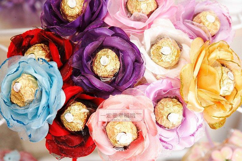 一定要幸福哦~~玫瑰金莎花棒.(含金莎巧克力)婚禮小物.生日禮物.情人節