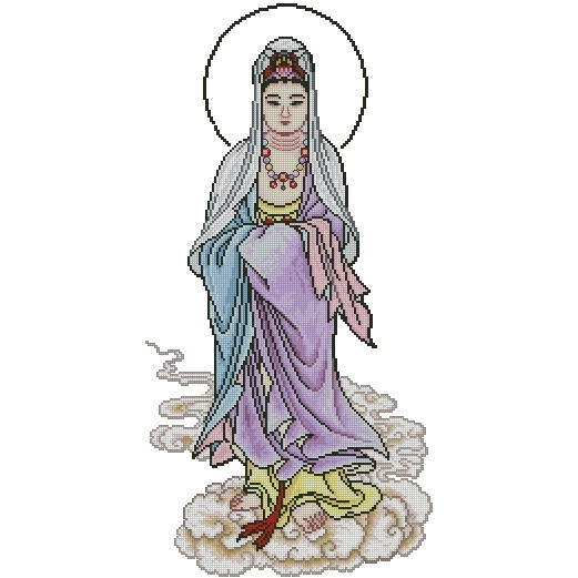 十字繡材料包 宗教 - 觀音大士 (2) (14CT小格)