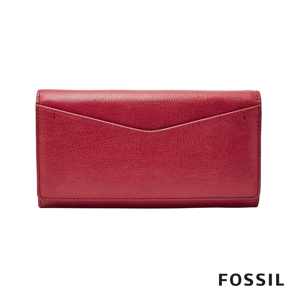 FOSSIL CAROLINE 手拿包長夾-暗紅色