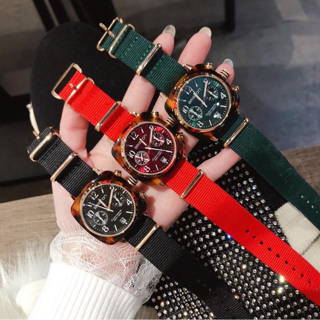 【今日精品推薦】BRISTON時尚腕表 眼鏡膠錶殼 百搭時尚手錶 女士尼龍手錶 多選三色