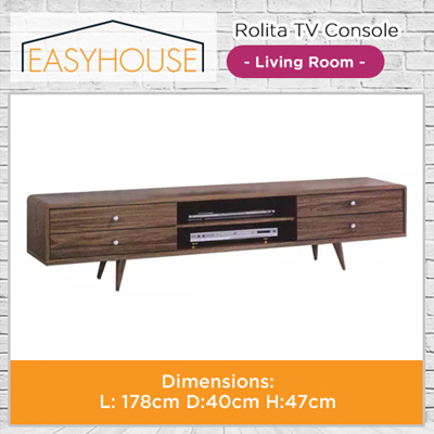 Rolita TV Console | Living Room | High Laminated Finishing with Dirty Oak Color