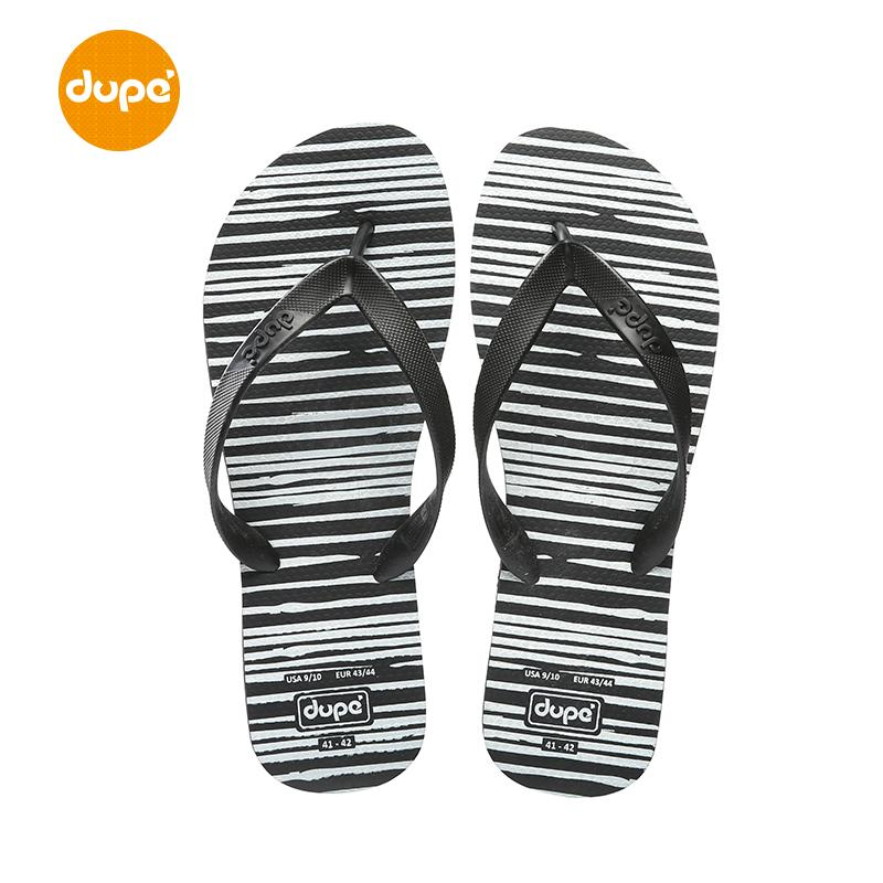 Dupe Brazil New Style Black And White Stripes Flip-flops Male Rubber Anti-slip Outer Wear Flat Beach Leisure Fashion Slipper