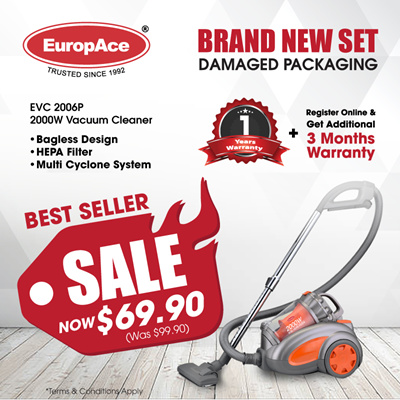 *Last 5 Sets* Europace EVC 2006P / 3200S – 2000W Multi- Cyclone Bagless Vacuum Cleaner
