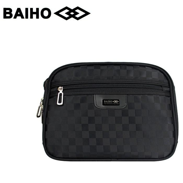 【小鯨魚包包館】BAIHO 台灣製造 多功能 側背包/斜背包 BHO276 黑格