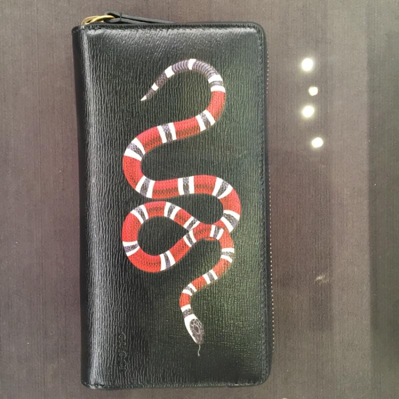 代購 Gucci 正品發財 珊瑚 蛇 全真皮 水波紋 拉鍊 長夾