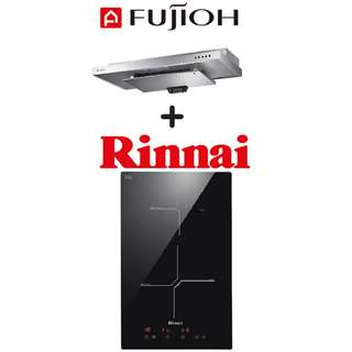 FUJIOH SLM900R SLIMLINE HOOD + RINNAI RB-3012H-CB 2 ZONE INDUCTION HOB WITH TOUCH CONTROL