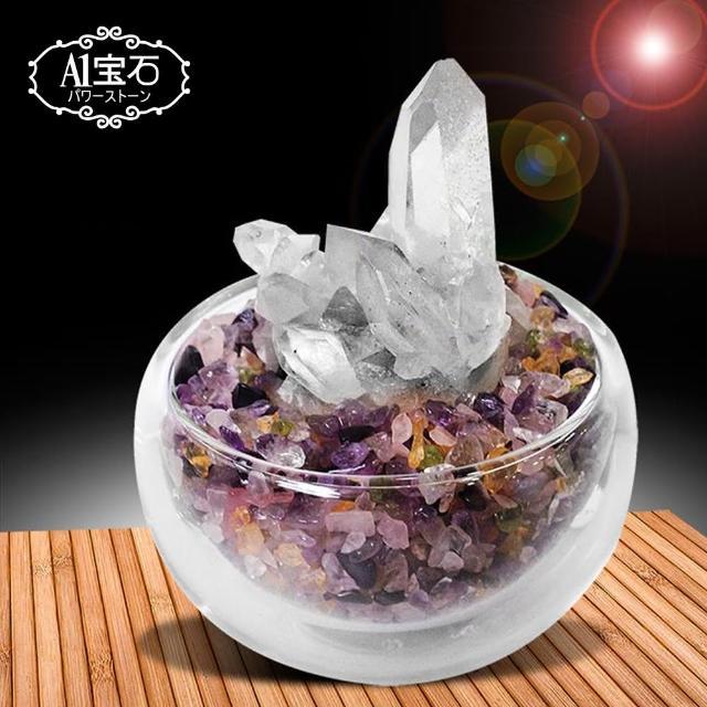 【A1寶石】招財轉運白水晶簇-五行水晶聚寶盆(含開光)