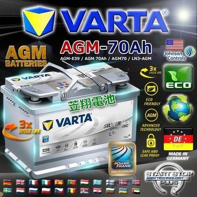✚中和電池✚ E39 德國華達 VARTA AGM 原廠電池 LN3 70AH 啟停系統 AUDI A3 Q3 V40