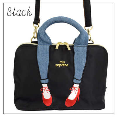 MIS zapatos Japan new waterproof nylon embroidered leg casual hand carrying a Messenger bag with wal