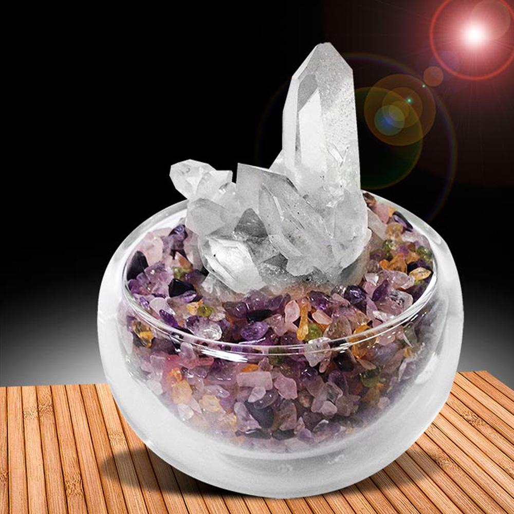 A1寶石  五行水晶聚寶盆-招財轉運白水晶簇(隨機出貨-含開光)
