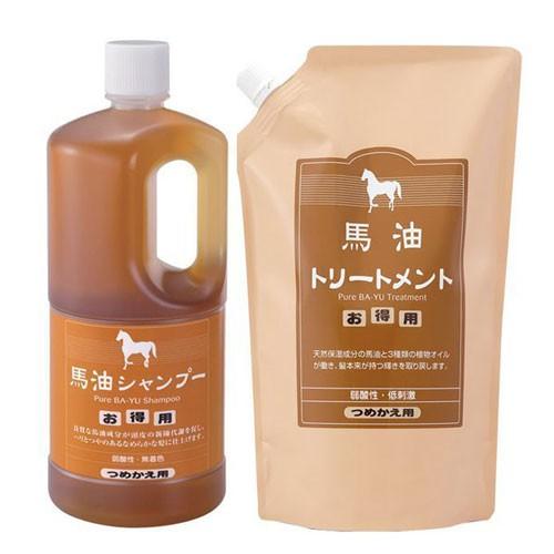 日本旅美人 馬油洗髮精補充瓶1000ml+護髮乳補充包1000g