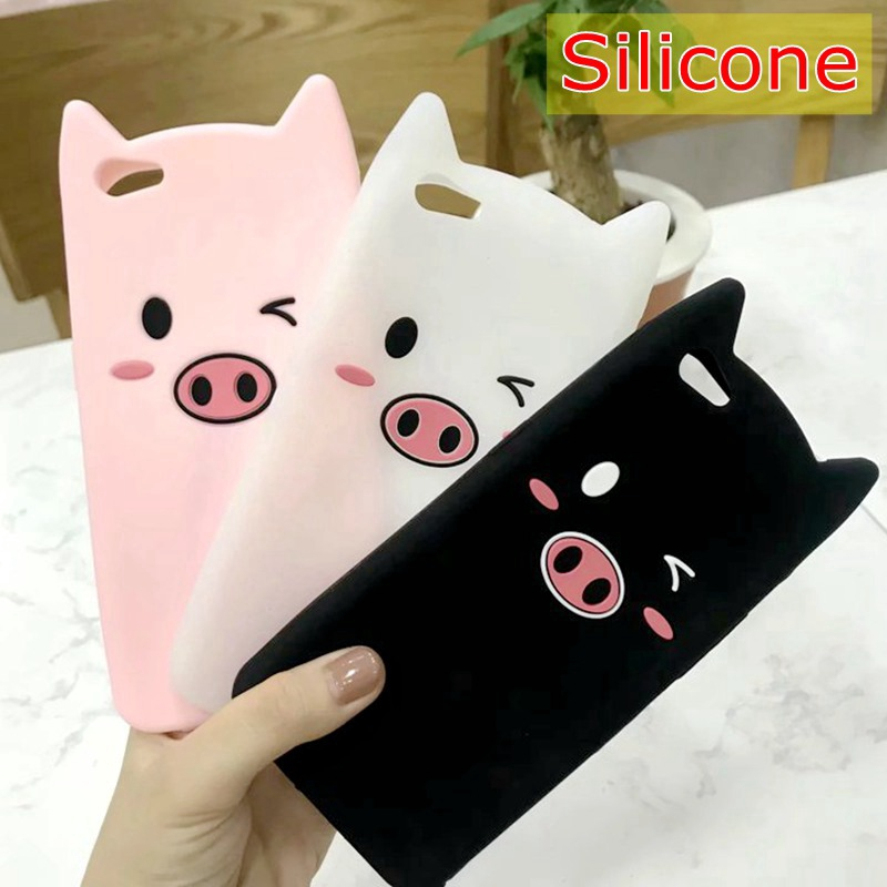 For  VIVO V11i,X21i,Y71,Y81,Y81S,3D Pig Rubber Soft Phone Case