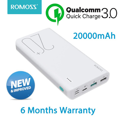 ROMOSS Sense6+ with Qualcomm Quick Charge 3.0 Powerbank Portable Charger External Battery