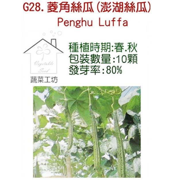 【蔬菜工坊】G28.菱角絲瓜種子(綠菱、澎湖絲瓜)