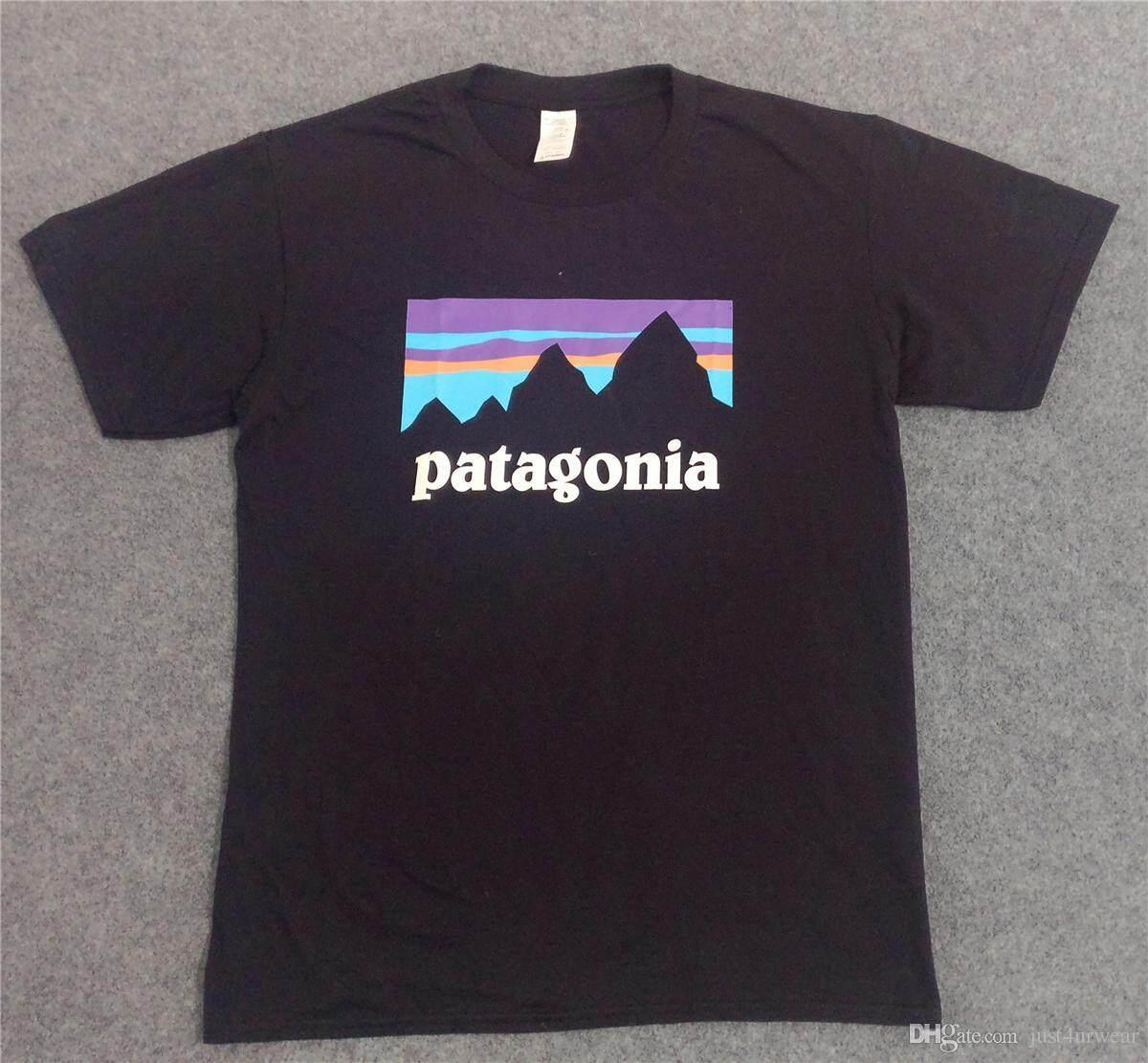 แฟชั่นแนวนอนพิมพ์ PATAGONIA สเก็ตบอร์ดบุรุษเสื้อยืด 2019 ใหม่สีดำ