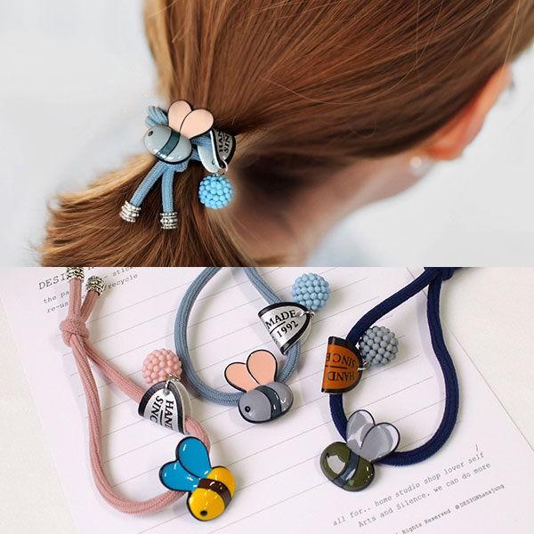NXS 蜜蜂 髮圈 彈性繩 髮飾 髮帶 球球 可愛 彩色 韓國