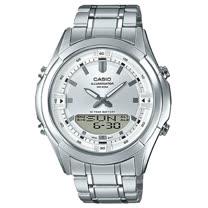 CASIO 卡西歐 雙顯男錶 不鏽鋼錶帶 黑色/銀色錶面 十年電力 防水 AMW-840D-7A