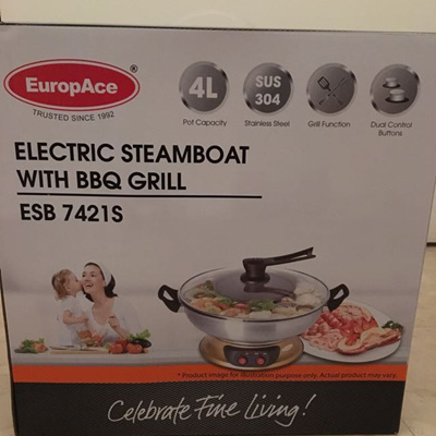 Brand New EuropAce Electric Steamboat ESB 7421S with BBQ Grill. 4L. Local SG Stock and warranty !!