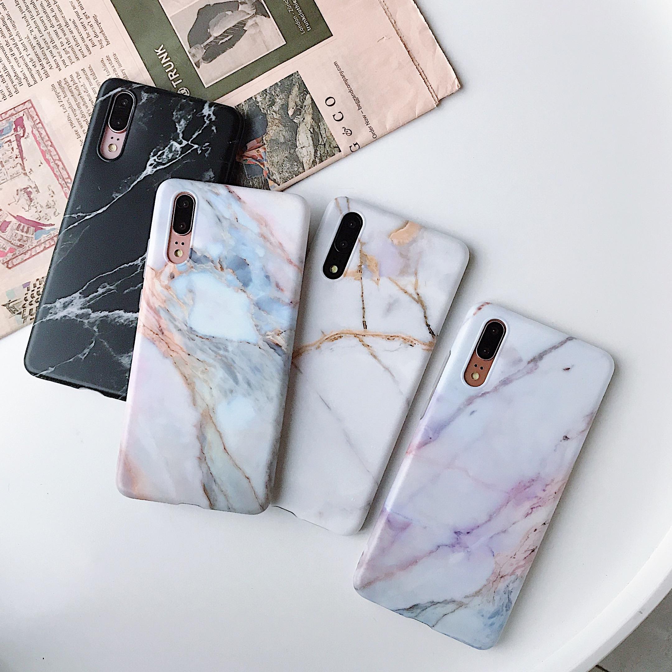 Huawei P20 PRO P30 PRO P30 LITE MATE20 PRO MATE20 LITE NOVA2S NOVA3 NOVA3I Marble Pattern TPU Material IMD Process Scrub Feel phone case