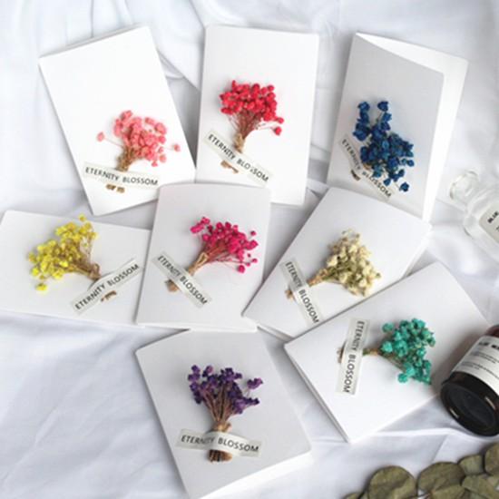 〔超美新品〕純白滿天星花束乾燥花卡片(8入組) 生日卡片CARMO【FL01002】