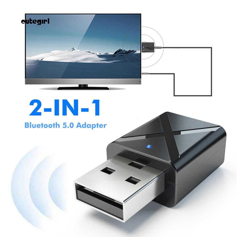 CUTE_2 in 1 USB Bluetooth 5.0 Transmitter Receiver AUX Audio Adapter for TV/PC/Car